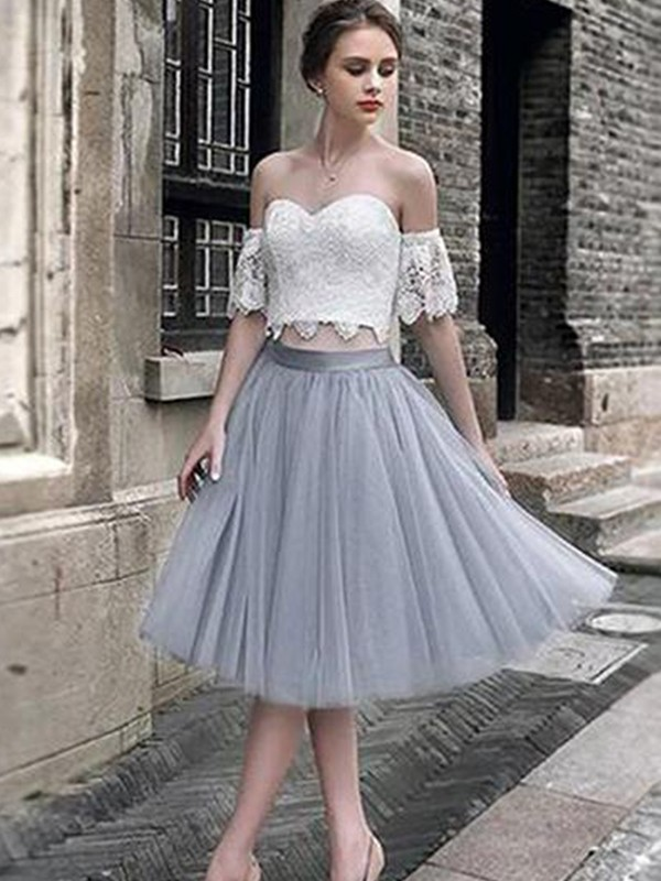 A-Line Lace Sweetheart Tulle Tea-Length Two Piece Dress