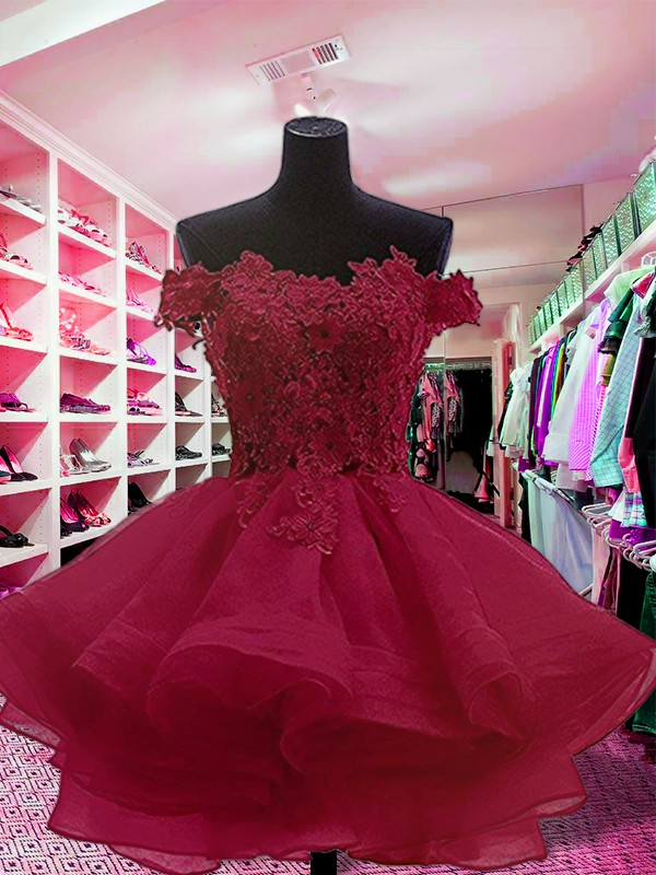 Ball Gown Off-the-Shoulder Short/Mini With Applique Organza Dress