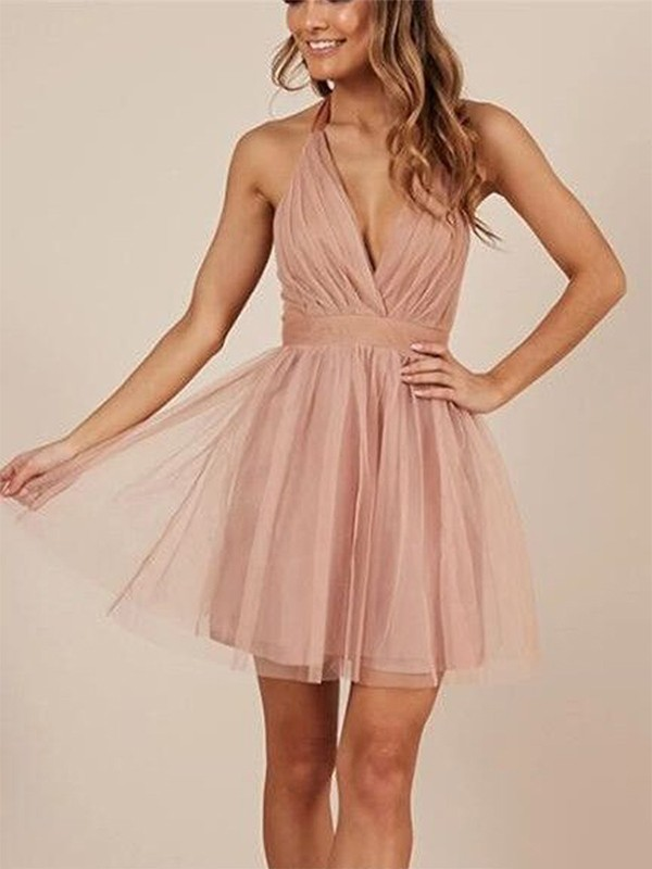 A-Line Halter Tulle With Ruffles Short/Mini Dress