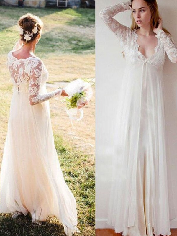 Empire V-neck Lace long Sleeves Floor-Length Chiffon Wedding Dress