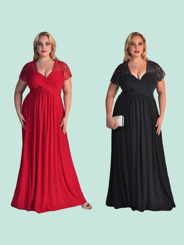 A-Line Short Sleeves V-neck Floor-Length Lace Chiffon Plus Size Dress
