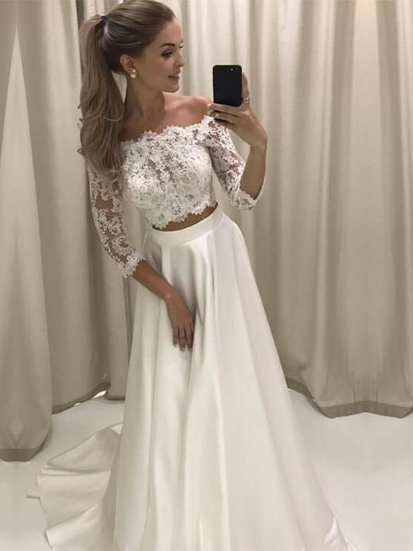 Popular A-Line Off-the-Shoulder 3/4 Sleeves Sweep/Brush Train Lace Satin Wedding Dress