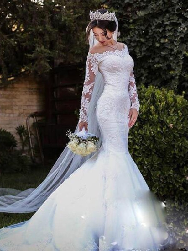 Adorable Mermaid Tulle Lace Off-the-Shoulder Sweep/Brush Train Wedding Dress