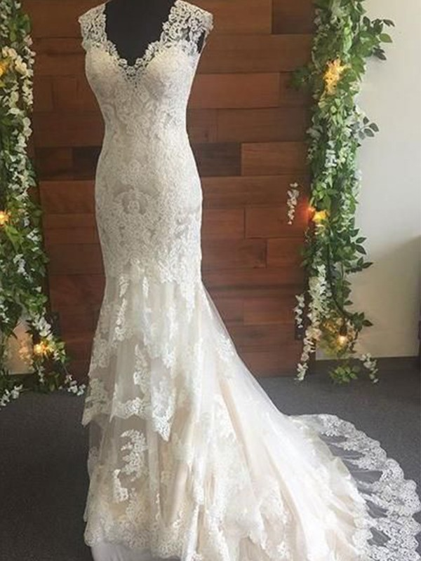Mermaid Tulle Lace V-neck Sweep/Brush Train Wedding Dress