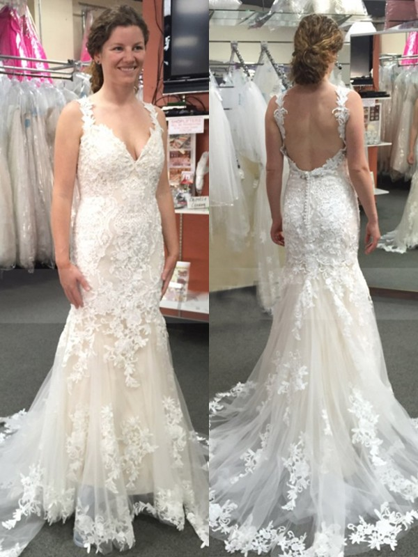 Shiny Mermaid Tulle With Applique Straps Sweep/Brush Train Wedding Dress