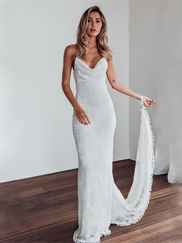 Perfect Sheath Style Lace Spaghetti Straps Sweep/Brush Train Wedding Dress