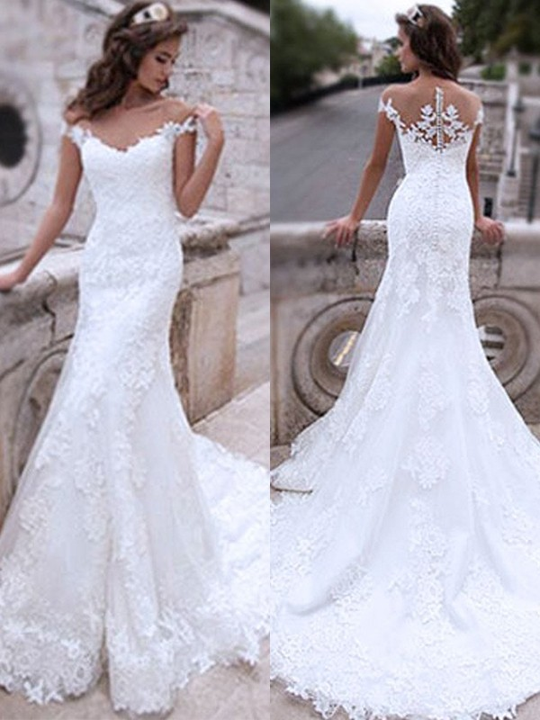 Beautiful You Mermaid Tulle With Applique Off-the-Shoulder Sweep/Brush Train Wedding Dress
