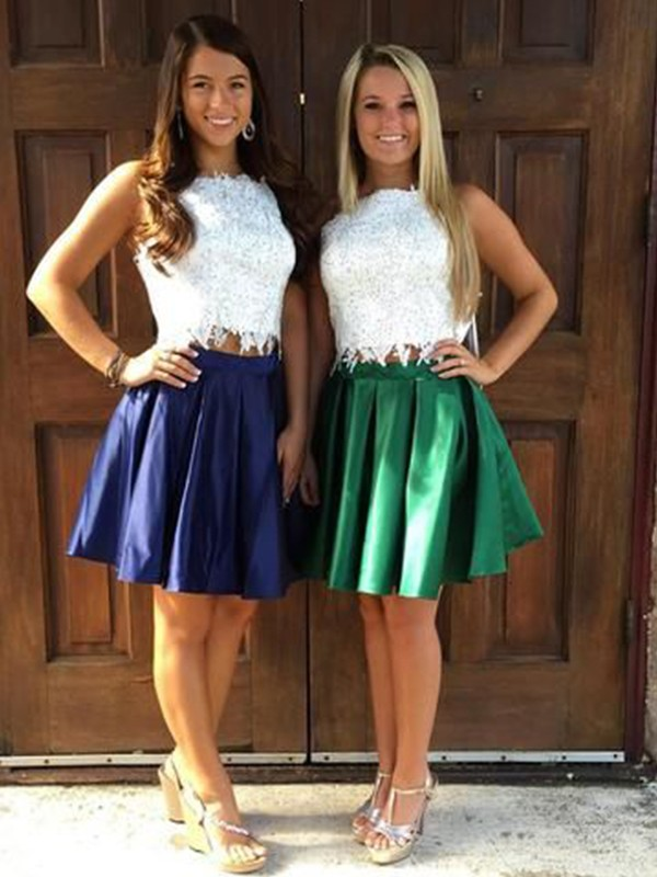 Adorable A-Line Satin Ruffles Sheer Neck Short/Mini Two Piece Homecoming Dress