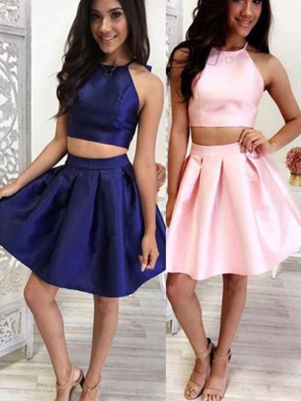 A-Line Satin Ruffles Halter Short/Mini Two Piece Homecoming Dress