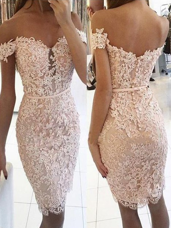 Sheath Style Lace Off-the-Shoulder Knee-Length Homecoming Dress