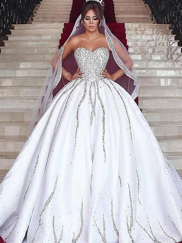 Ball Gown Sweetheart Satin Beading Sleeveless Sweep/Brush Train Wedding Dresses