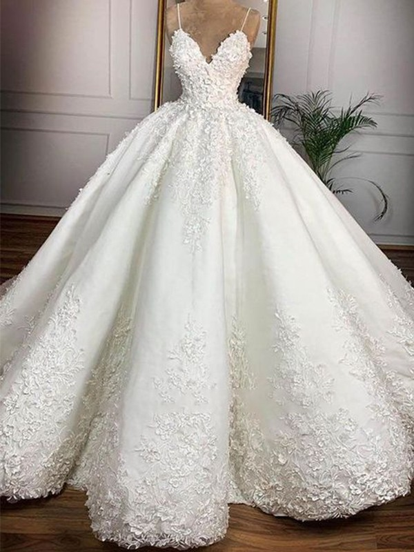Ball Gown Satin Spaghetti Straps Applique Sleeveless Floor-Length Wedding Dresses