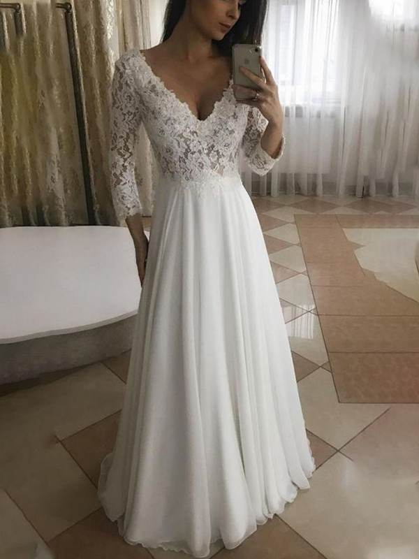 A-Line/Princess Chiffon Applique 3/4 Sleeves V-neck Floor-Length Wedding Dresses