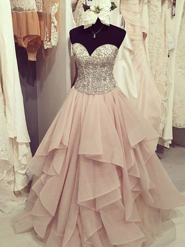 Ball Gown Sweetheart Floor-Length Beading Chiffon Dress