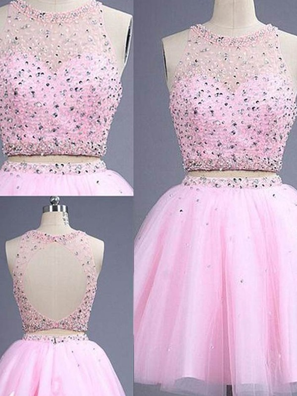 A-Line Princess Scoop Short/Mini Beading Tulle Two Piece Dress
