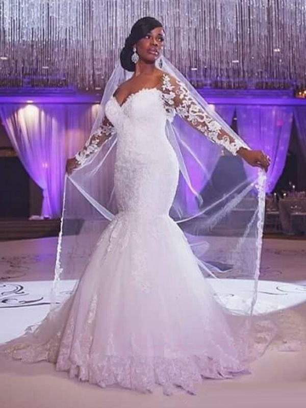 Mermaid Style Long Sleeves Sweetheart Sweep/Brush Train Applique Tulle Wedding Dress