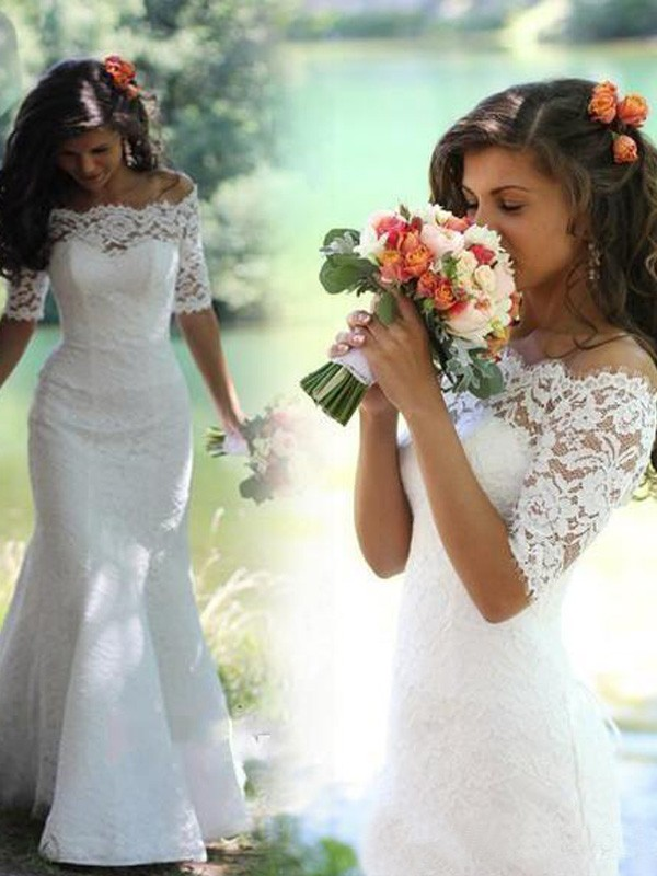 Mermaid Style Off-the-Shoulder 1/2 Sleeves Lace Sweep/Brush Train Wedding Dress