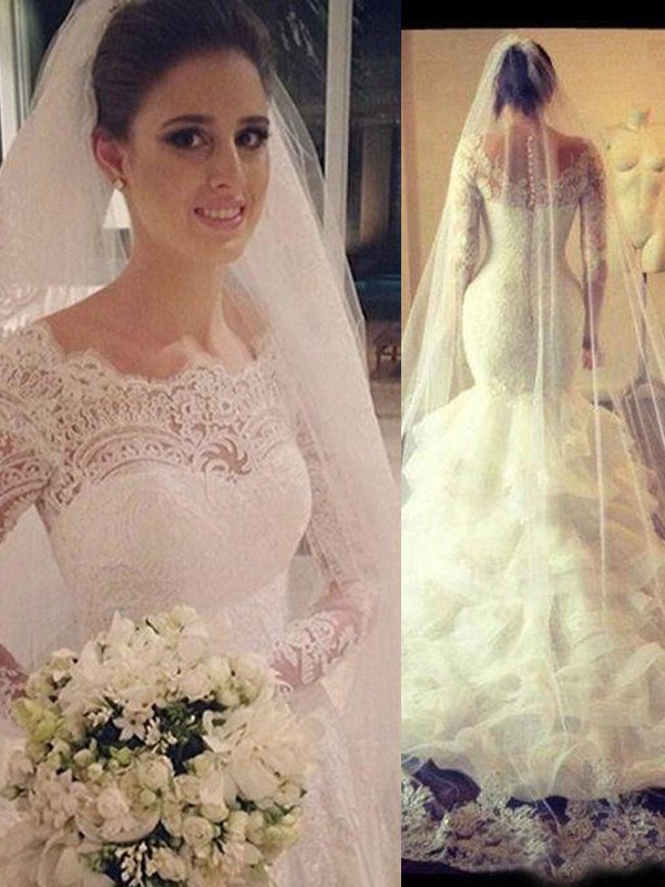 Mermaid Style Scoop Long Sleeves Lace Court Train Tulle Wedding Dress