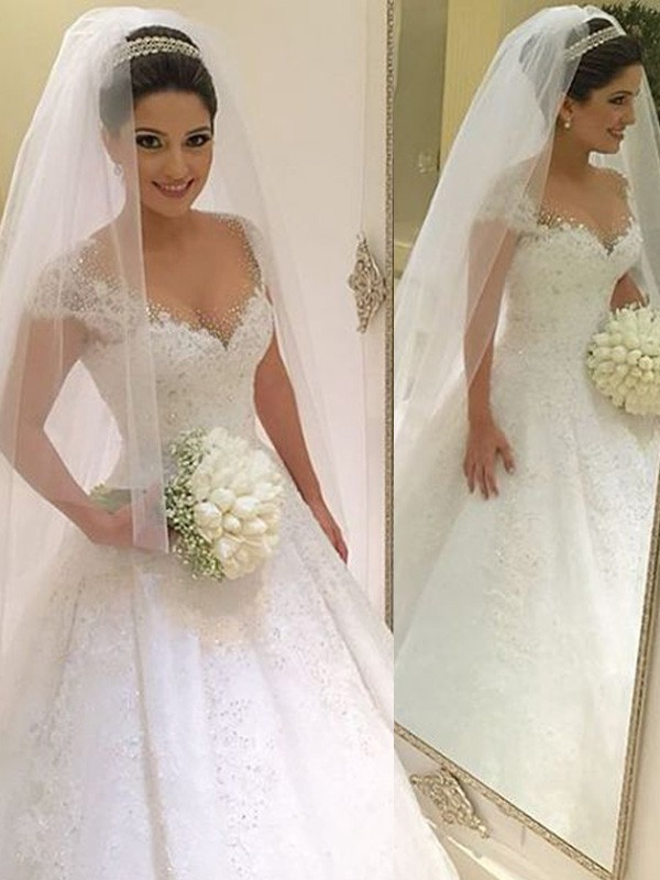Ball Gown V-neck Beading Floor-Length Tulle Wedding Dress