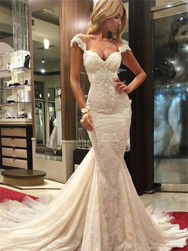 Chic Chic London Mermaid Style Chapel Train V-neck Lace Wedding Dress