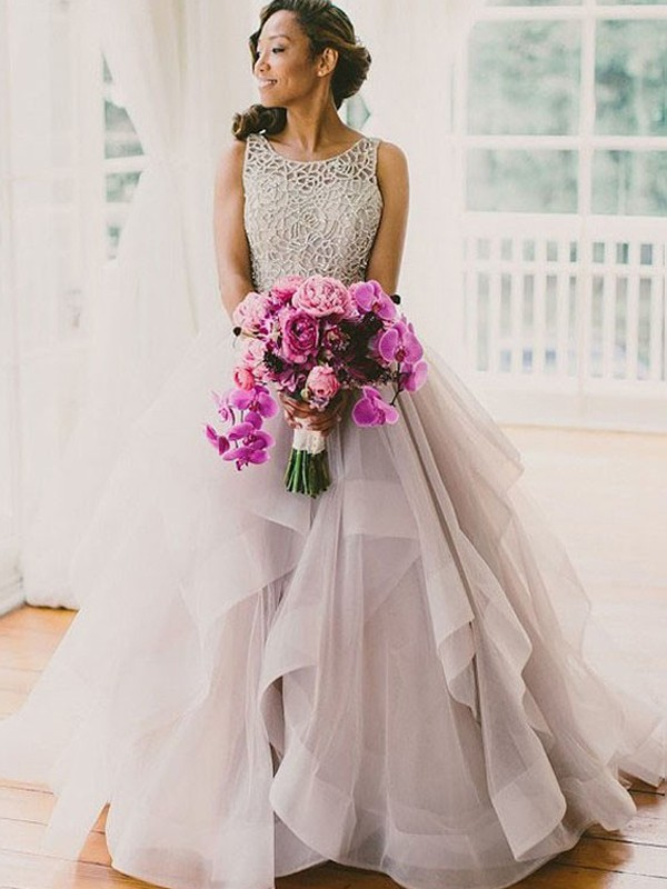 Fabulous Fit Ball Gown Scoop Beading Sweep/Brush Train Tulle Wedding Dress
