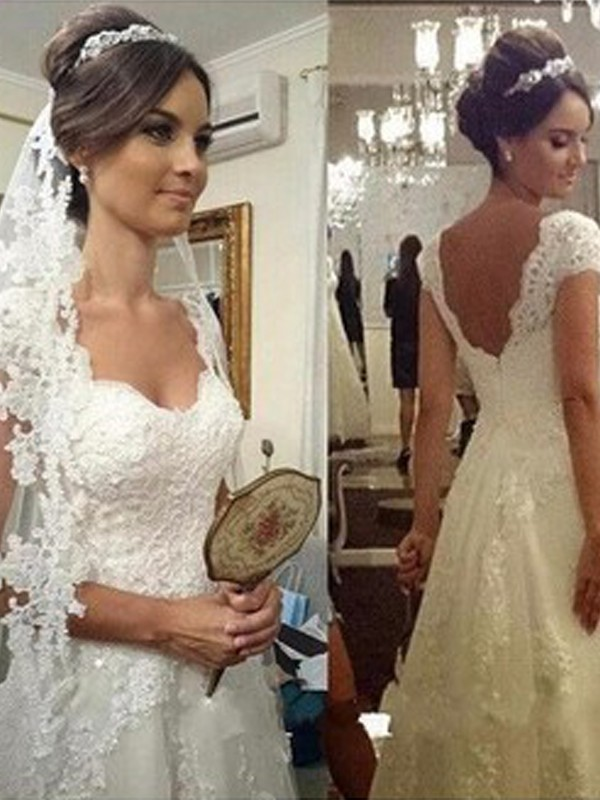 Vibrant Stylist Princess Style Sweetheart Floor-Length Lace Tulle Wedding Dress