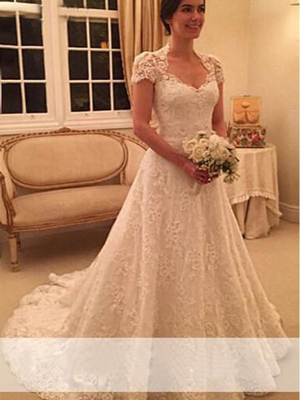 A-Line Princess Sweetheart Court Train Short Sleeves Lace Wedding Dress