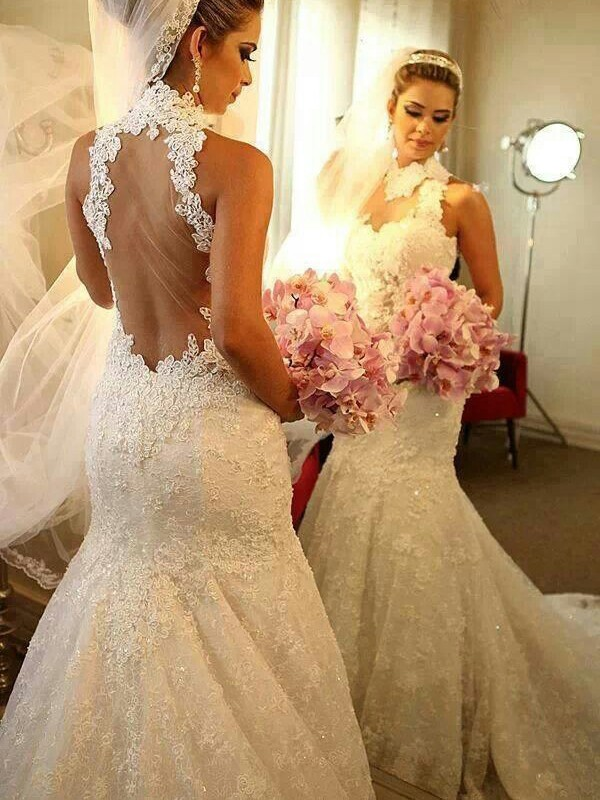 Mermaid Style High Neck Lace Court Train Wedding Dress