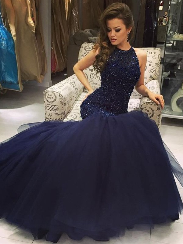Mermaid Style Floor-Length Jewel Tulle Beading Dress