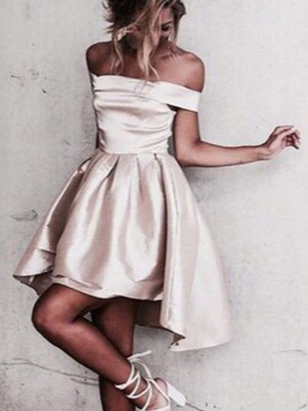 A-Line Princess Off-the-Shoulder Satin Short/Mini Dress