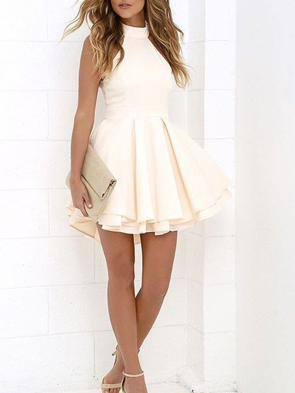 A-Line Princess Halter Satin Short/Mini Dress