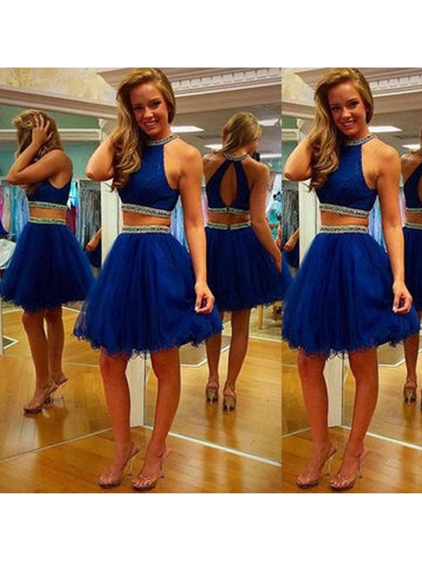 A-Line Princess Halter Beading Tulle Short/Mini Two Piece Dress
