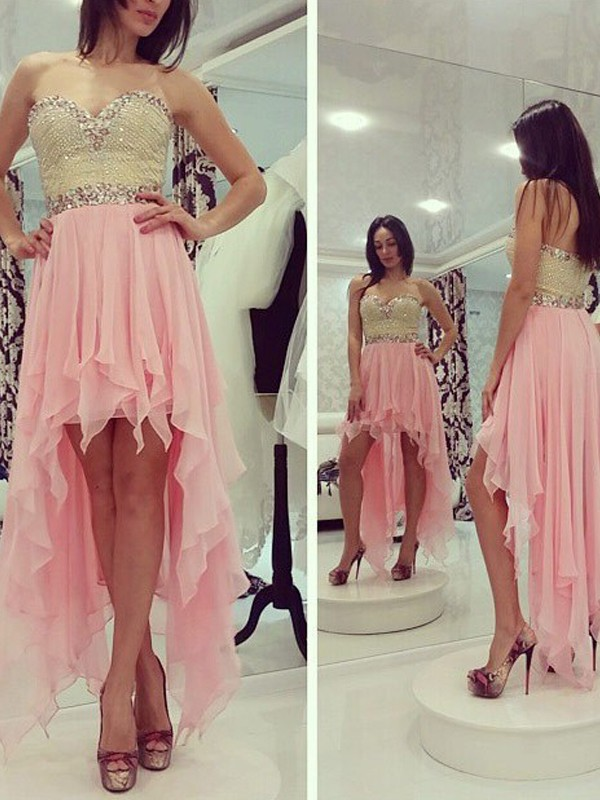 A-Line Princess Sweetheart Beading Chiffon Asymmetrical Dress