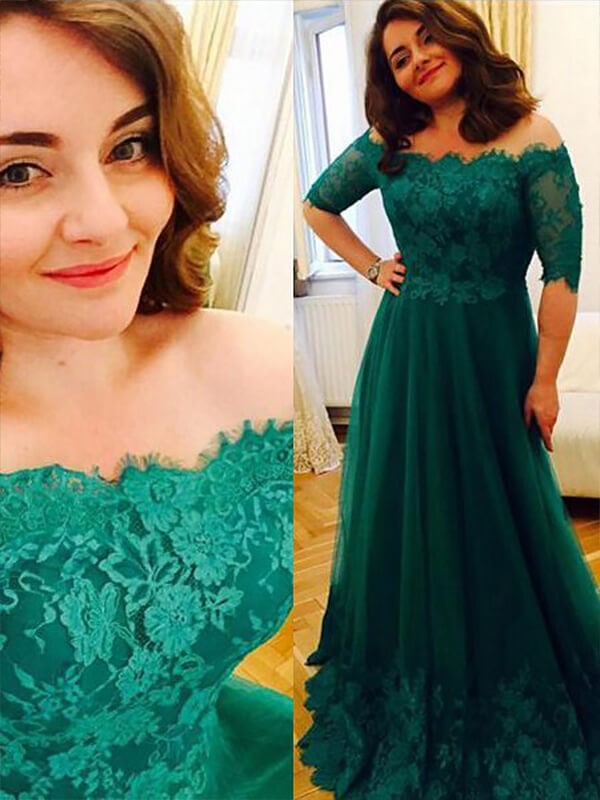 A-Line Princess Short Sleeves Tulle Off-the-Shoulder Applique Floor-Length Plus Size Dress