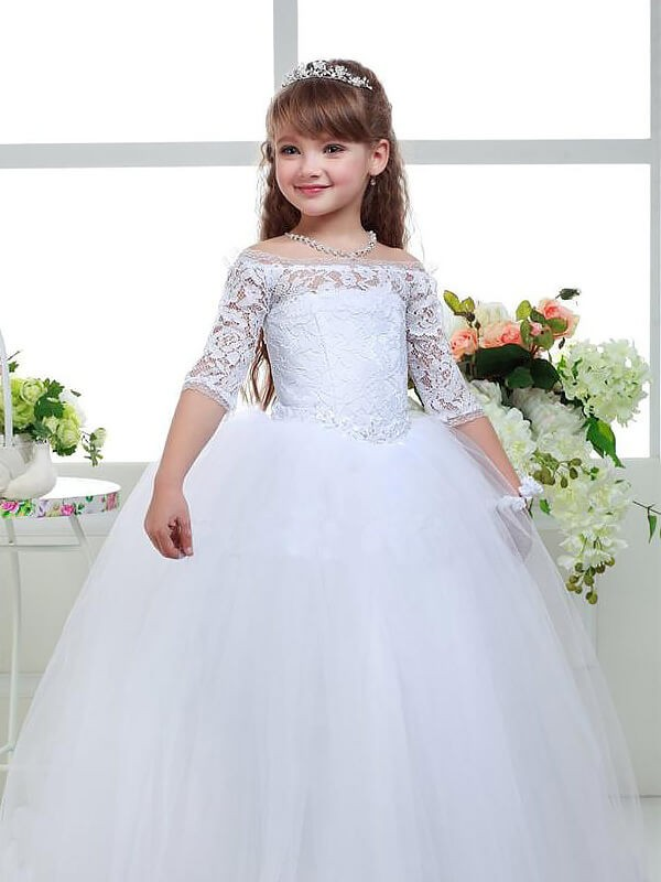 Ball Gown Off-the-Shoulder 1/2 Sleeves Lace Floor-Length Tulle Flower Girl Dress