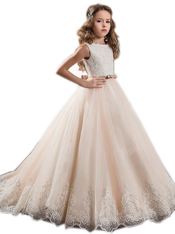 Just My Style Ball Gown Jewel Lace Sweep/Brush Train Tulle Flower Girl Dress