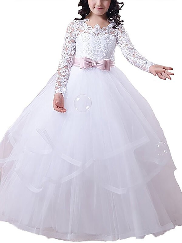 Ball Gown Jewel Long Sleeves Lace Floor-Length Tulle Flower Girl Dress