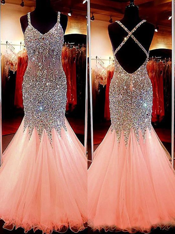 Mermaid V-neck Tulle With Sequin Floor-Length Dress