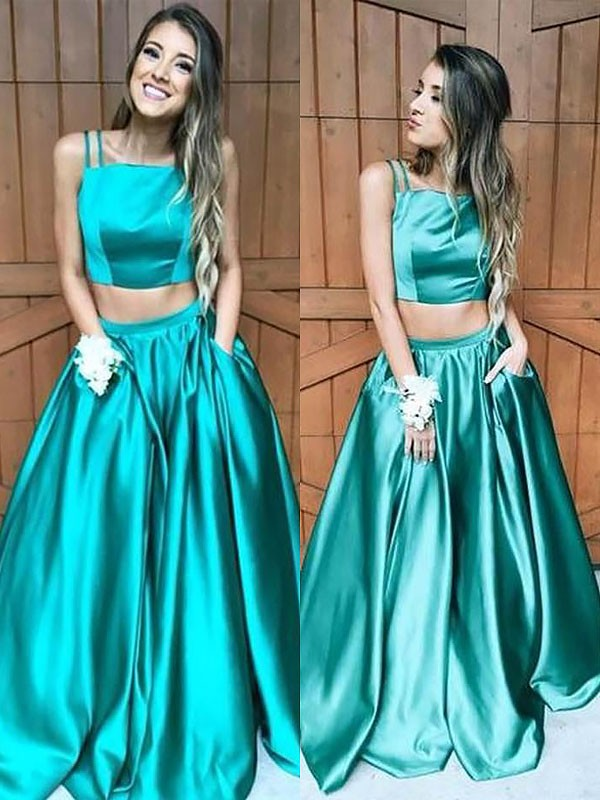 A-Line Square Floor-Length With Ruffles Satin Two Piece Dress