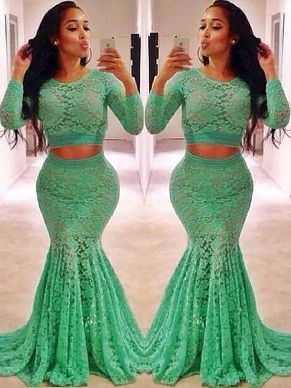 Mermaid Scoop Long Sleeves Lace With Ruffles Sweep/Brush Train Two Piece Dress