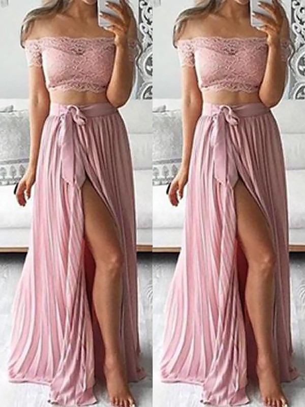 A-Line Off-the-Shoulder Chiffon Floor-Length With Lace Two Piece Dress