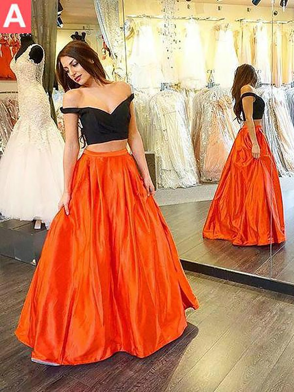 A-Line Off-the-Shoulder Taffeta Floor-Length With Ruffles Two Piece Dress