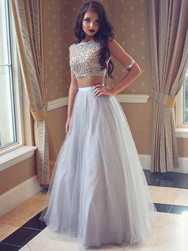 A-Line Bateau Tulle Floor-Length With Beading Two Piece Dress