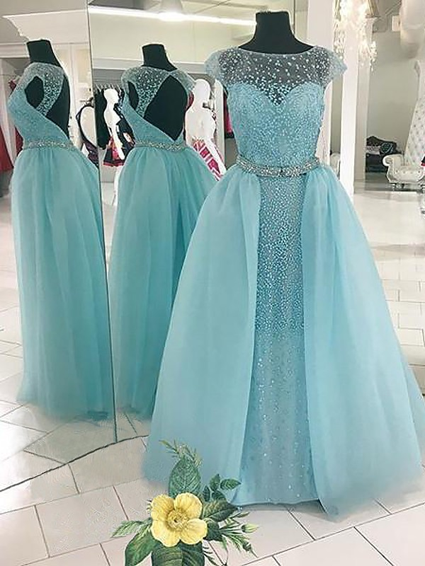 Ball Gown Bateau With Beading Floor-Length Tulle Dress