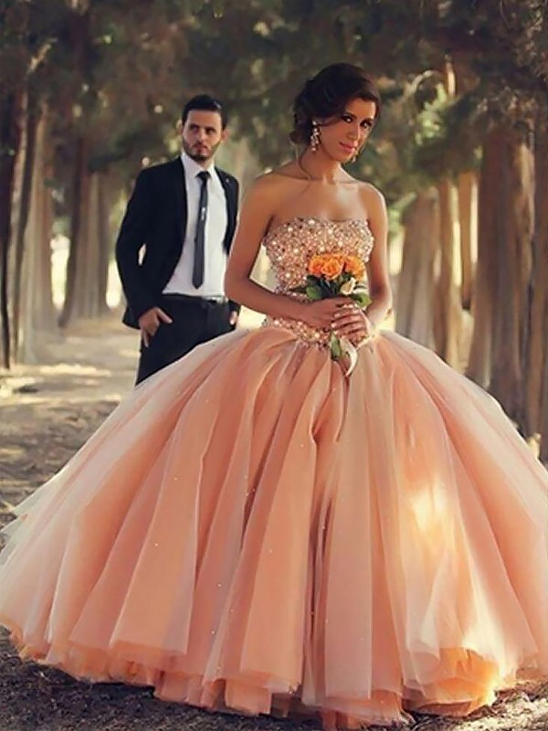Ball Gown Strapless With Beading Floor-Length Tulle Dress