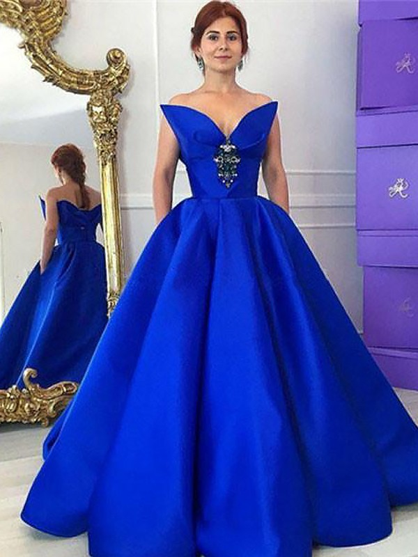 Ball Gown V-neck With Ruffles Floor-Length Satin Dress