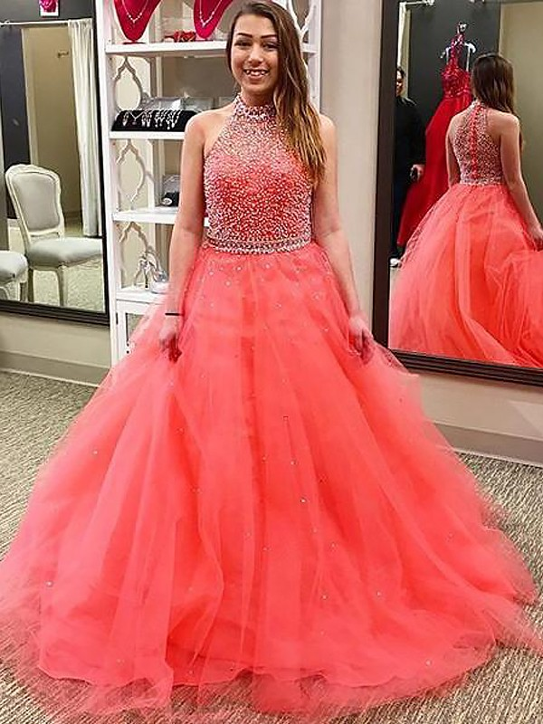 Ball Gown Halter With Beading Floor-Length Tulle Dress