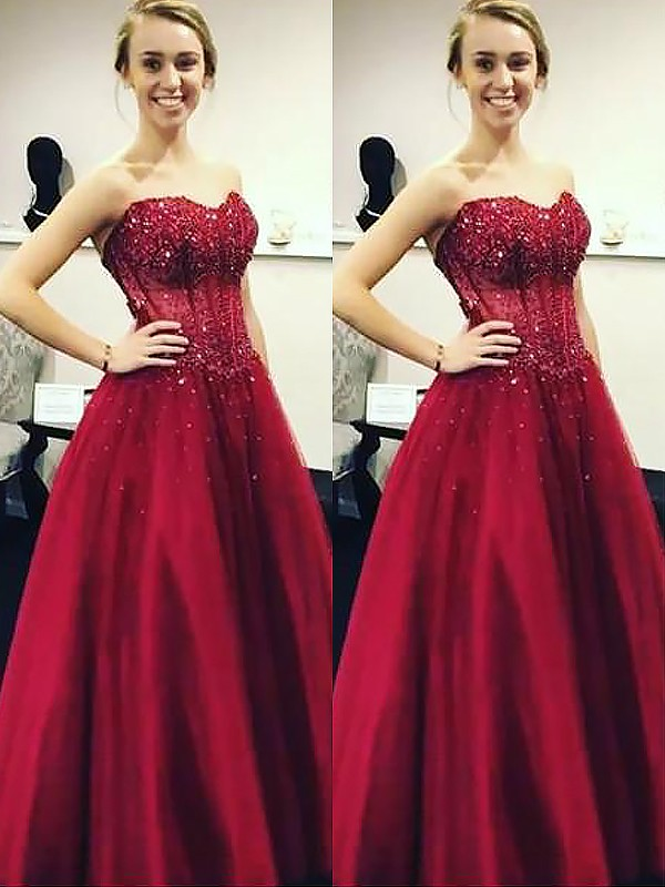 Ball Gown Sweetheart With Beading Floor-Length Satin Dress