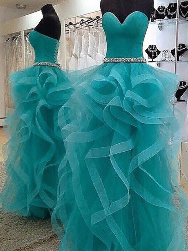 Ball Gown Sweetheart With Beading Floor-Length Tulle Dress