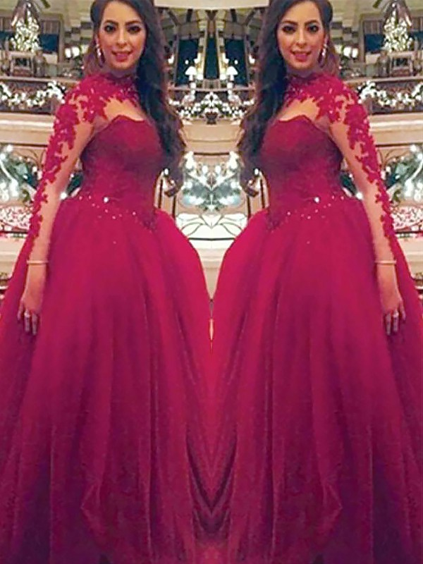 Ball Gown Long Sleeves High Neck With Applique Floor-Length Tulle Dress